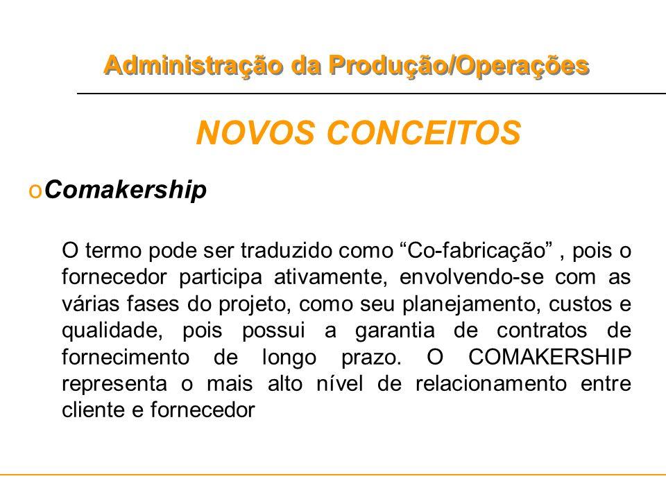 Administração da Produção/Operações NOVOS CONCEITOS oComakership O termo pode ser traduzido como Co-fabricação, pois o fornecedor participa ativamente
