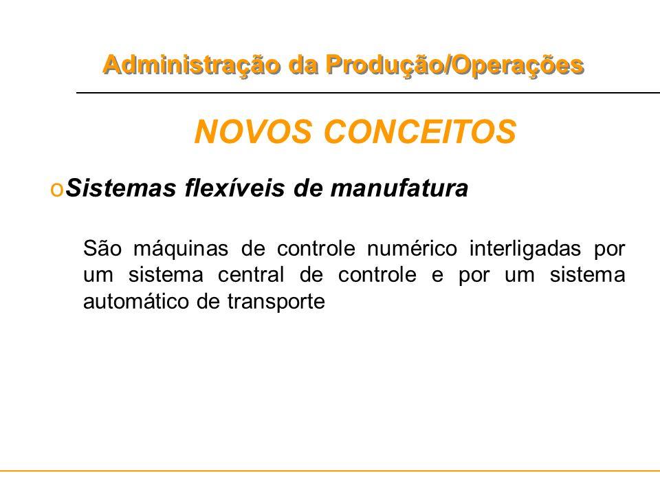 Administração da Produção/Operações NOVOS CONCEITOS oSistemas flexíveis de manufatura São máquinas de controle numérico interligadas por um sistema ce