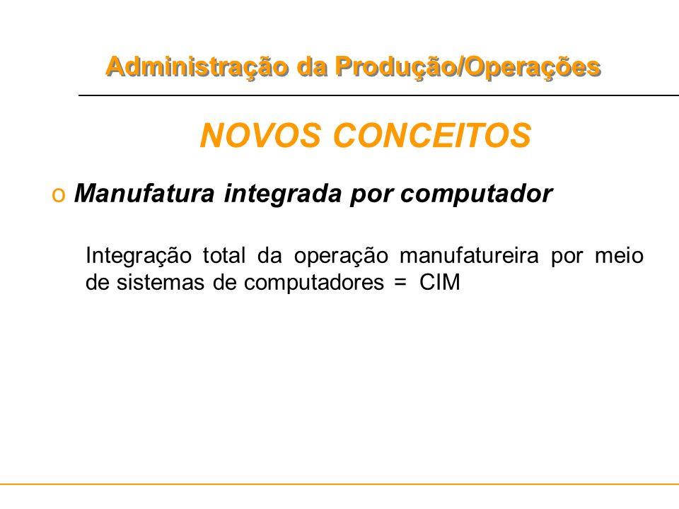 Administração da Produção/Operações NOVOS CONCEITOS o Manufatura integrada por computador Integração total da operação manufatureira por meio de siste