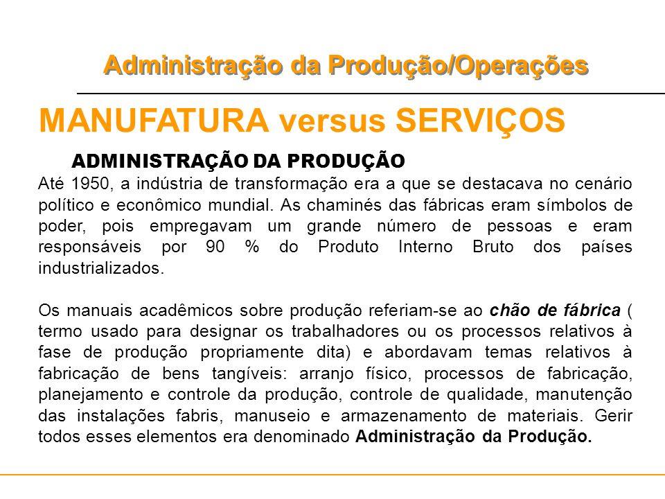 Administração da Produção/Operações MANUFATURA versus SERVIÇOS ADMINISTRAÇÃO DA PRODUÇÃO Até 1950, a indústria de transformação era a que se destacava