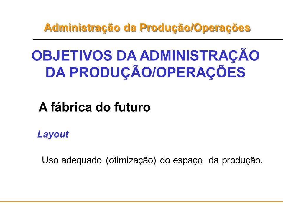 Administração da Produção/Operações OBJETIVOS DA ADMINISTRAÇÃO DA PRODUÇÃO/OPERAÇÕES A fábrica do futuro Layout Uso adequado (otimização) do espaço da
