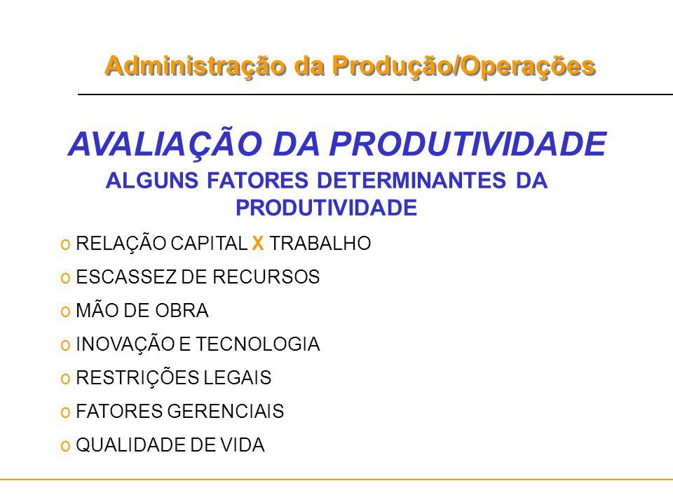 Administração da Produção/Operações AVALIAÇÃO DA PRODUTIVIDADE ALGUNS FATORES DETERMINANTES DA PRODUTIVIDADE o RELAÇÃO CAPITAL X TRABALHO o ESCASSEZ D
