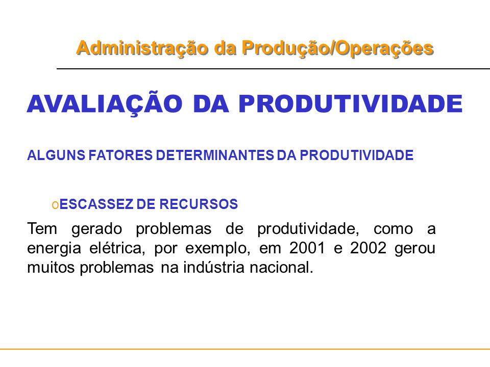 Administração da Produção/Operações AVALIAÇÃO DA PRODUTIVIDADE ALGUNS FATORES DETERMINANTES DA PRODUTIVIDADE oESCASSEZ DE RECURSOS Tem gerado problema
