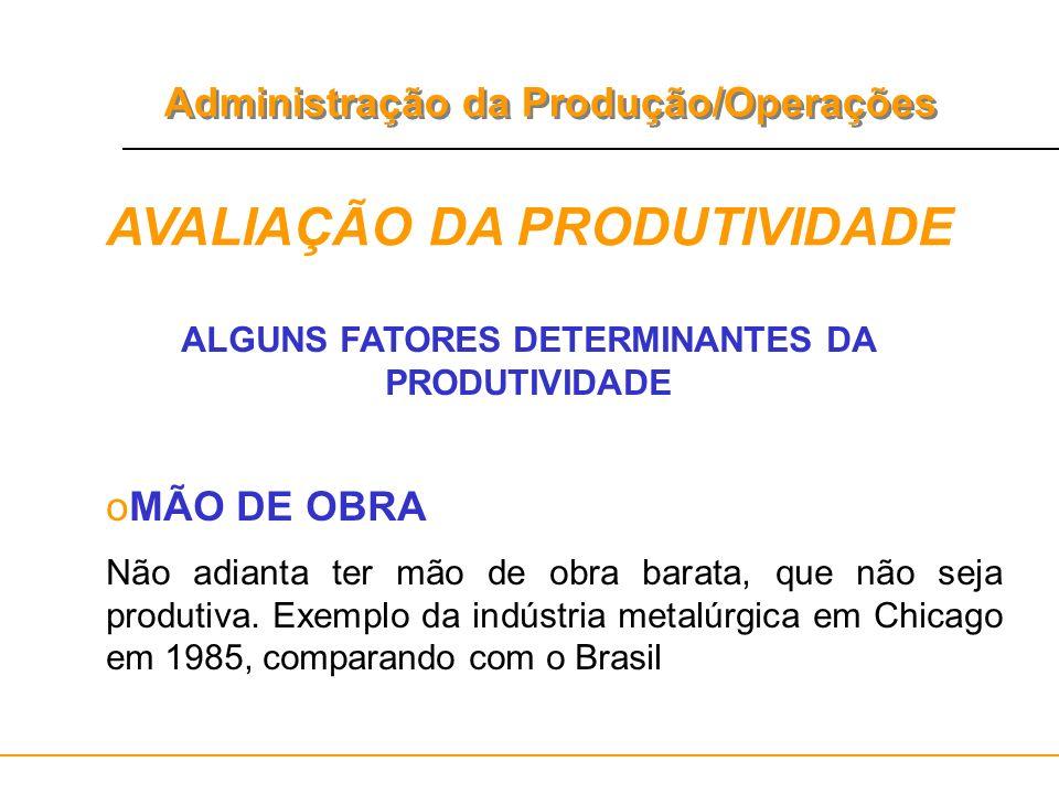 Administração da Produção/Operações AVALIAÇÃO DA PRODUTIVIDADE ALGUNS FATORES DETERMINANTES DA PRODUTIVIDADE oMÃO DE OBRA Não adianta ter mão de obra