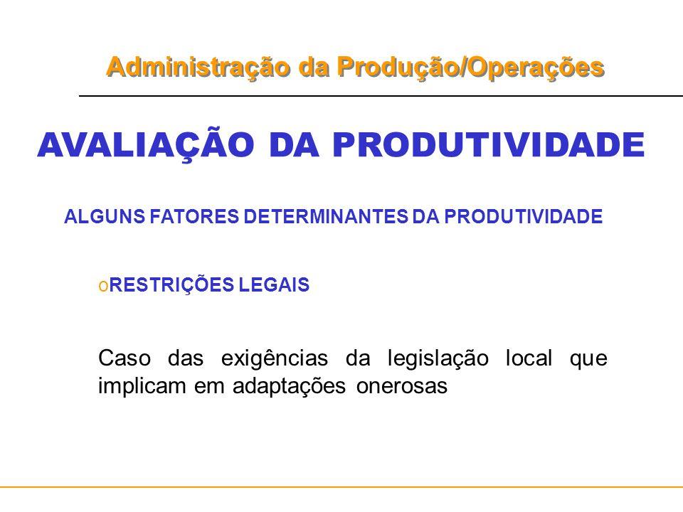 Administração da Produção/Operações AVALIAÇÃO DA PRODUTIVIDADE ALGUNS FATORES DETERMINANTES DA PRODUTIVIDADE oRESTRIÇÕES LEGAIS Caso das exigências da