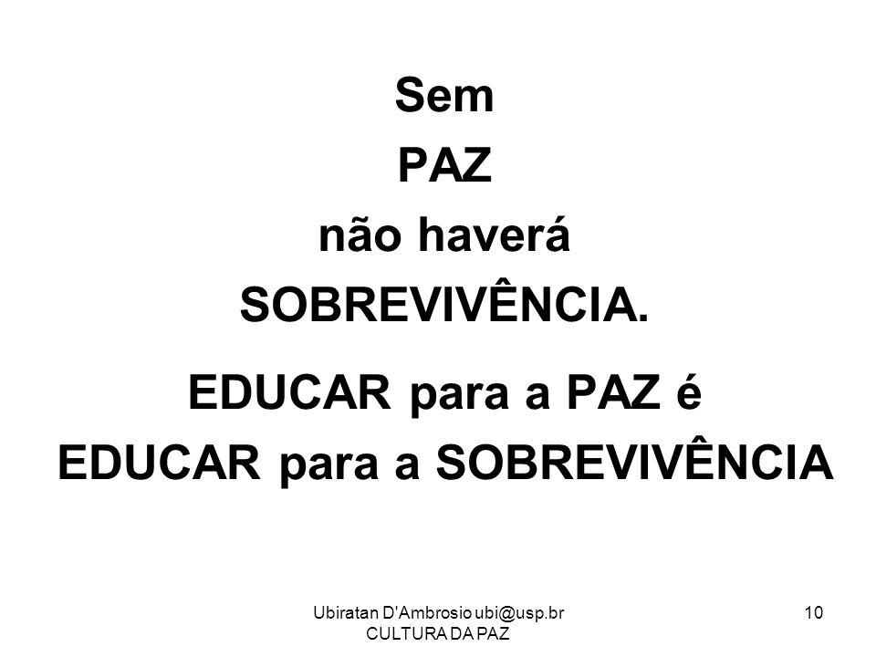 Ubiratan D'Ambrosio ubi@usp.br CULTURA DA PAZ 10 Sem PAZ não haverá SOBREVIVÊNCIA. EDUCAR para a PAZ é EDUCAR para a SOBREVIVÊNCIA