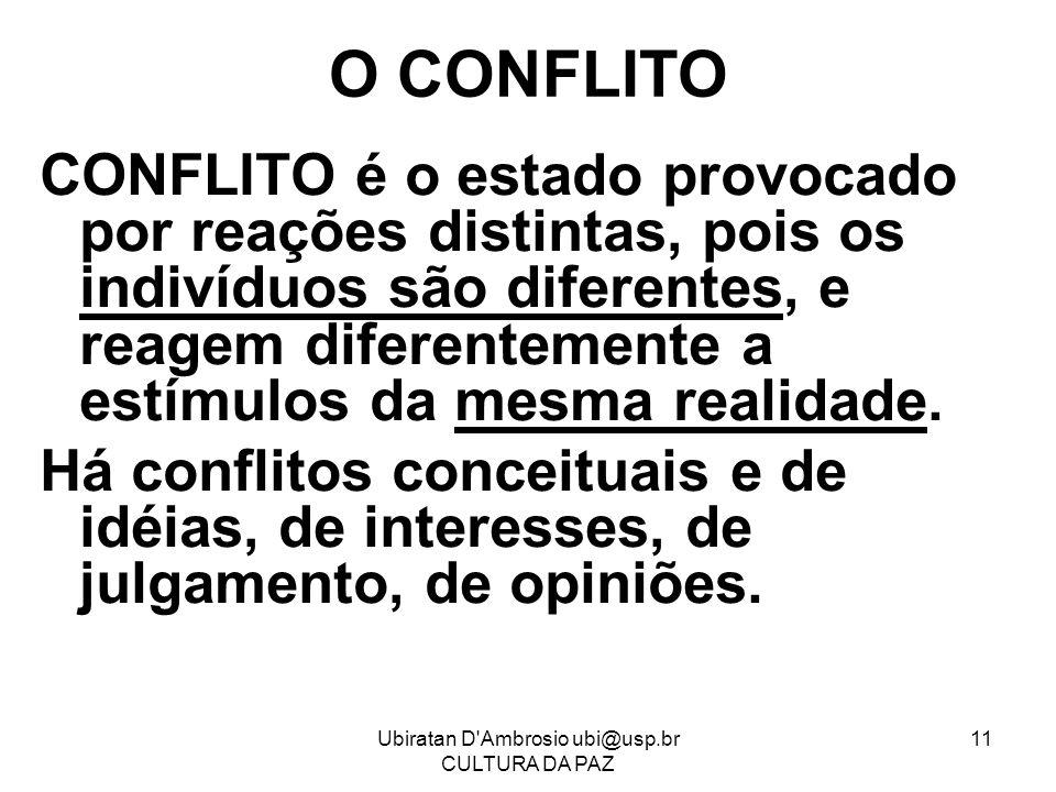 Ubiratan D'Ambrosio ubi@usp.br CULTURA DA PAZ 11 O CONFLITO CONFLITO é o estado provocado por reações distintas, pois os indivíduos são diferentes, e