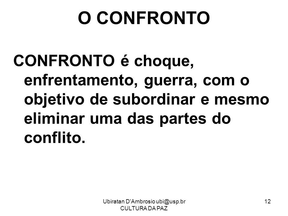 Ubiratan D'Ambrosio ubi@usp.br CULTURA DA PAZ 12 O CONFRONTO CONFRONTO é choque, enfrentamento, guerra, com o objetivo de subordinar e mesmo eliminar