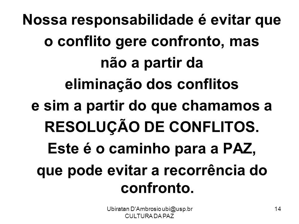 Ubiratan D'Ambrosio ubi@usp.br CULTURA DA PAZ 14 Nossa responsabilidade é evitar que o conflito gere confronto, mas não a partir da eliminação dos con