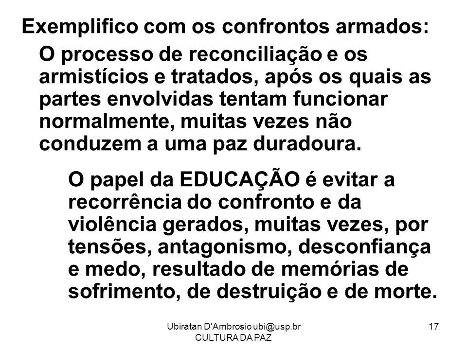 Ubiratan D'Ambrosio ubi@usp.br CULTURA DA PAZ 17 Exemplifico com os confrontos armados: O processo de reconciliação e os armistícios e tratados, após