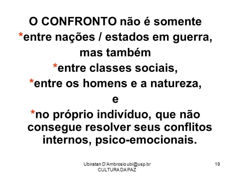 Ubiratan D'Ambrosio ubi@usp.br CULTURA DA PAZ 19 O CONFRONTO não é somente *entre nações / estados em guerra, mas também *entre classes sociais, *entr