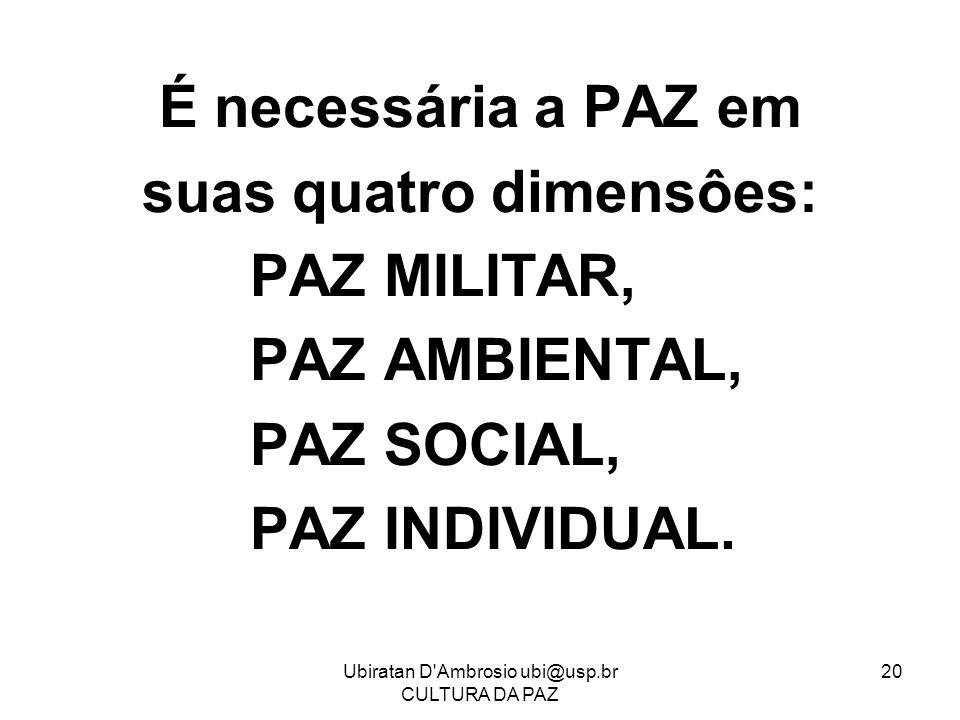 Ubiratan D'Ambrosio ubi@usp.br CULTURA DA PAZ 20 É necessária a PAZ em suas quatro dimensôes: PAZ MILITAR, PAZ AMBIENTAL, PAZ SOCIAL, PAZ INDIVIDUAL.