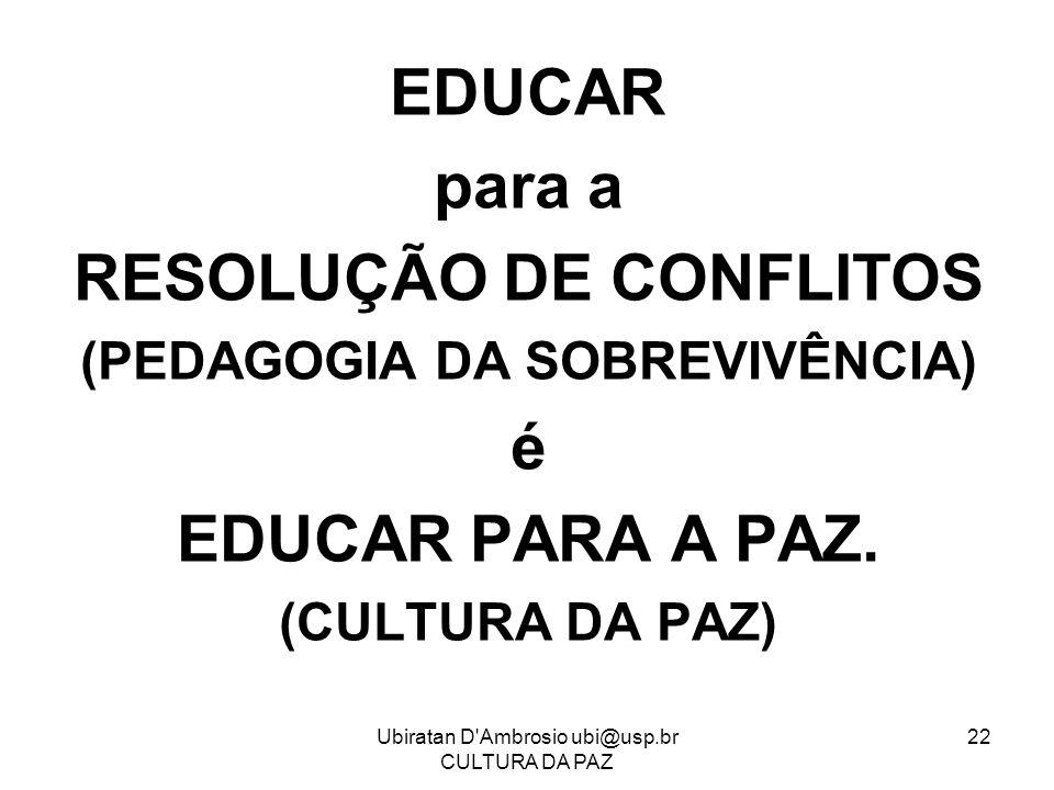 Ubiratan D'Ambrosio ubi@usp.br CULTURA DA PAZ 22 EDUCAR para a RESOLUÇÃO DE CONFLITOS (PEDAGOGIA DA SOBREVIVÊNCIA) é EDUCAR PARA A PAZ. (CULTURA DA PA