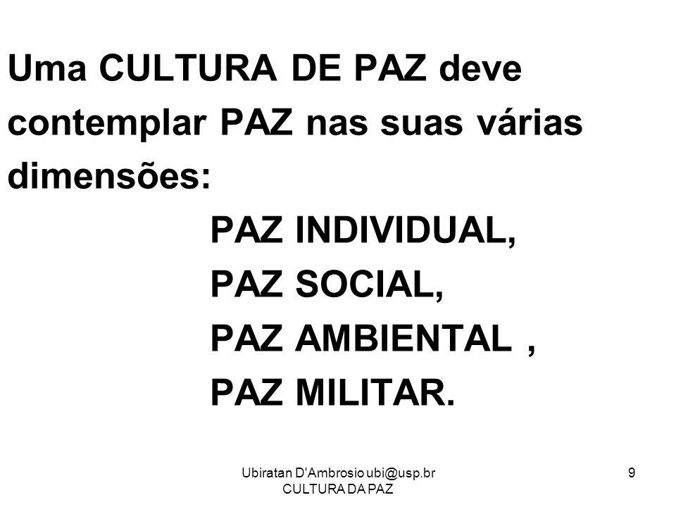Ubiratan D'Ambrosio ubi@usp.br CULTURA DA PAZ 9 Uma CULTURA DE PAZ deve contemplar PAZ nas suas várias dimensões: PAZ INDIVIDUAL, PAZ SOCIAL, PAZ AMBI