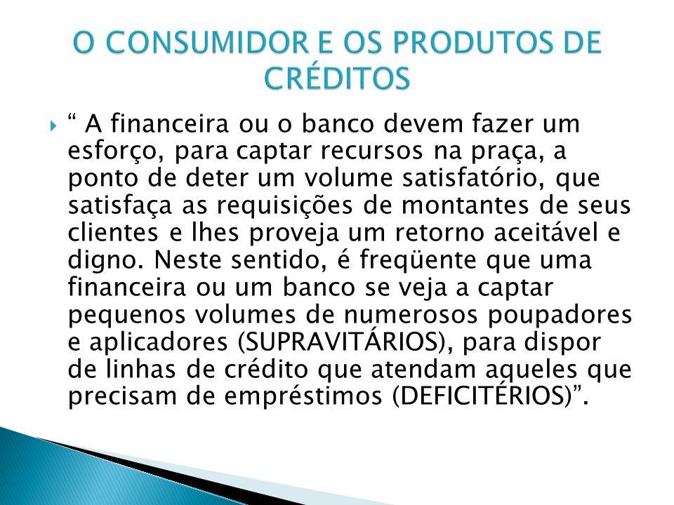 A financeira ou o banco devem fazer um esforço, para captar recursos na praça, a ponto de deter um volume satisfatório, que satisfaça as requisições d
