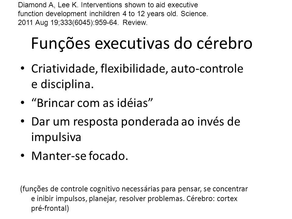 Funções executivas do cérebro Criatividade, flexibilidade, auto-controle e disciplina. Brincar com as idéias Dar um resposta ponderada ao invés de imp