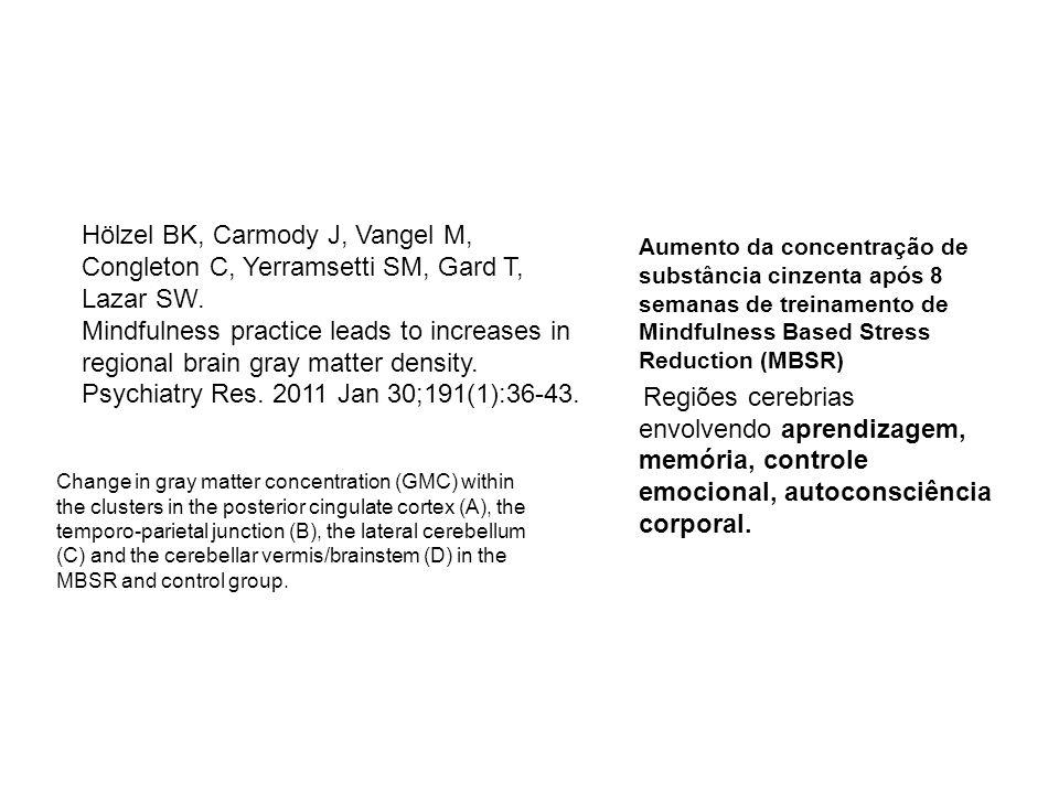 Aumento da concentração de substância cinzenta após 8 semanas de treinamento de Mindfulness Based Stress Reduction (MBSR) Regiões cerebrias envolvendo