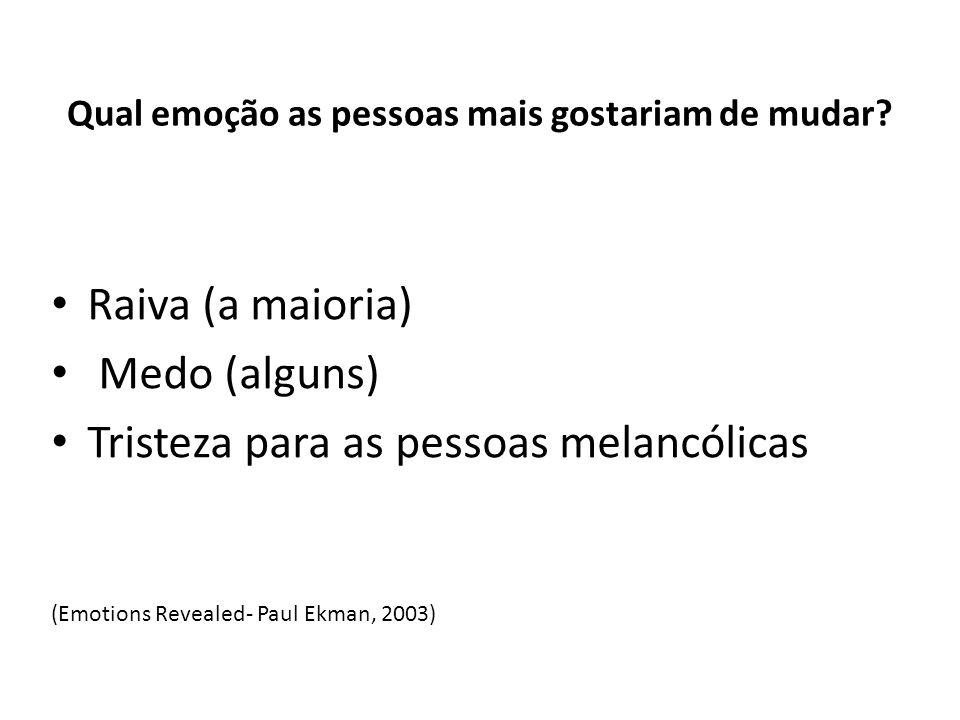 Qual emoção as pessoas mais gostariam de mudar? Raiva (a maioria) Medo (alguns) Tristeza para as pessoas melancólicas (Emotions Revealed- Paul Ekman,