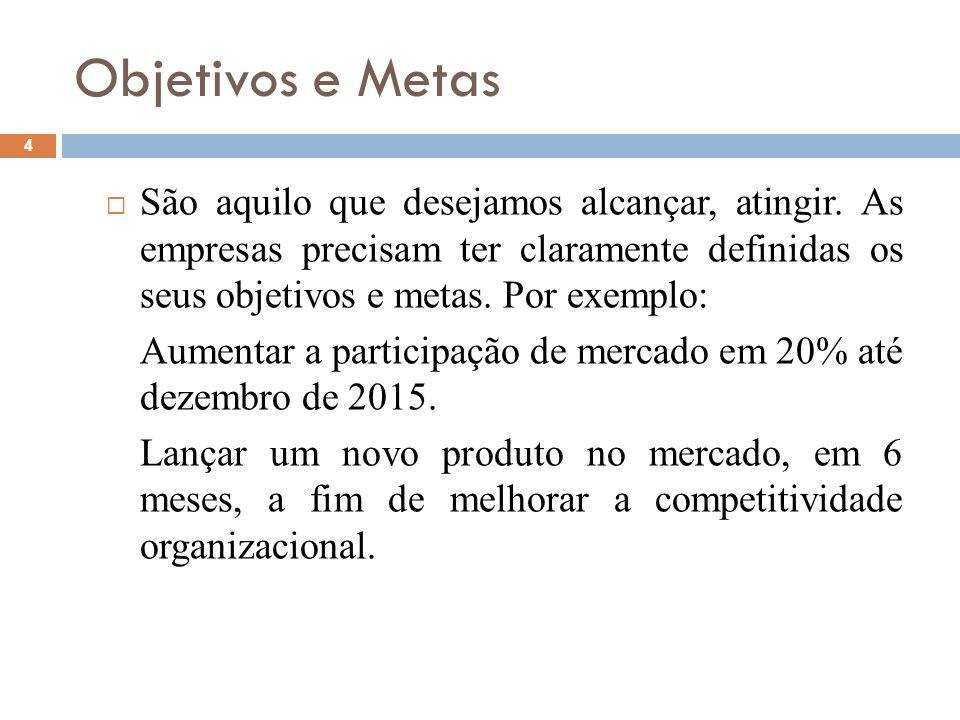 Objetivos e Metas 4 São aquilo que desejamos alcançar, atingir. As empresas precisam ter claramente definidas os seus objetivos e metas. Por exemplo: