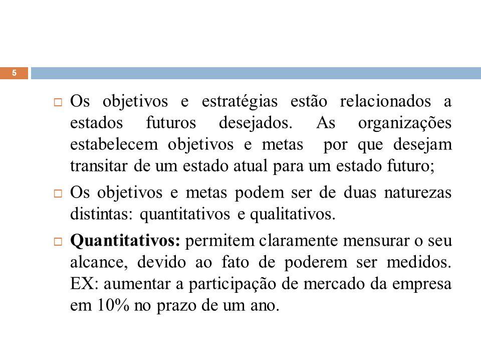 5 Os objetivos e estratégias estão relacionados a estados futuros desejados. As organizações estabelecem objetivos e metas por que desejam transitar d
