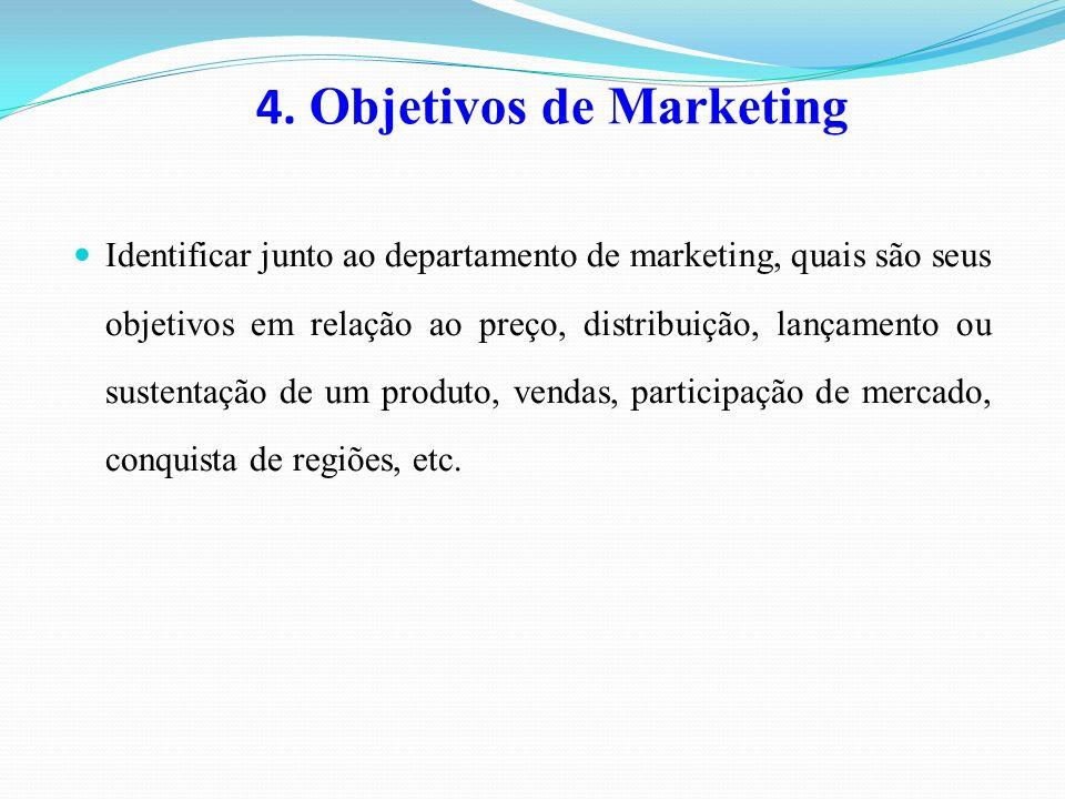 4. Objetivos de Marketing Identificar junto ao departamento de marketing, quais são seus objetivos em relação ao preço, distribuição, lançamento ou su