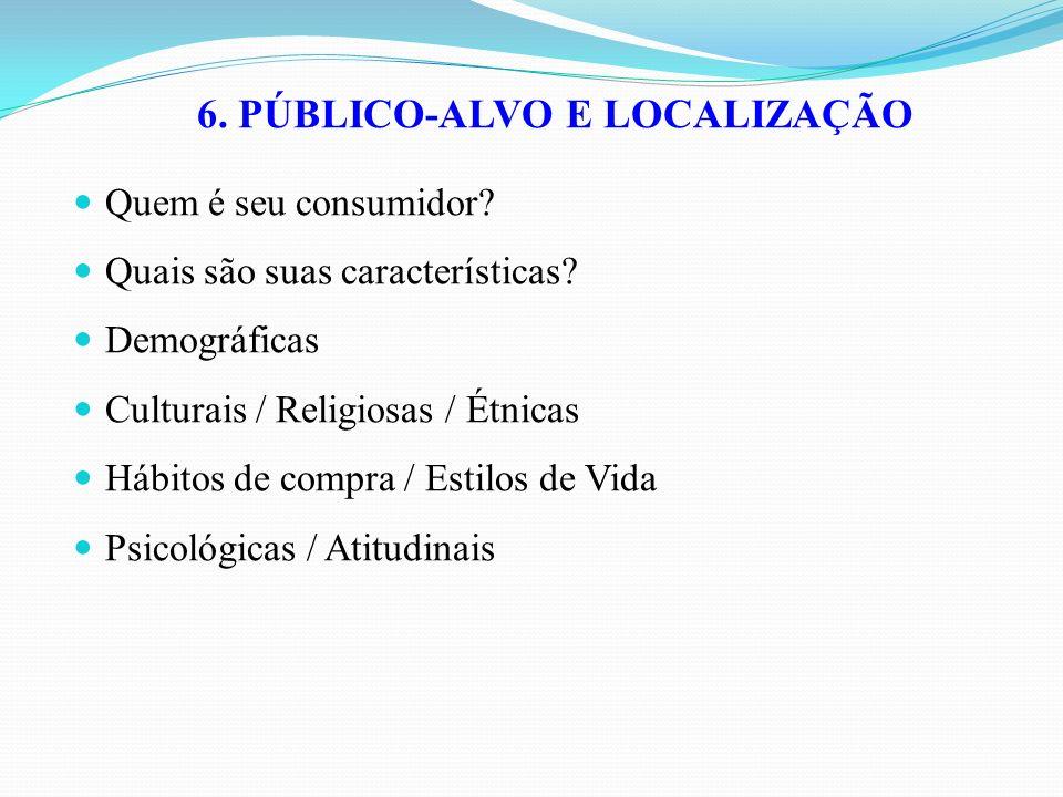 6. PÚBLICO-ALVO E LOCALIZAÇÃO Quem é seu consumidor? Quais são suas características? Demográficas Culturais / Religiosas / Étnicas Hábitos de compra /