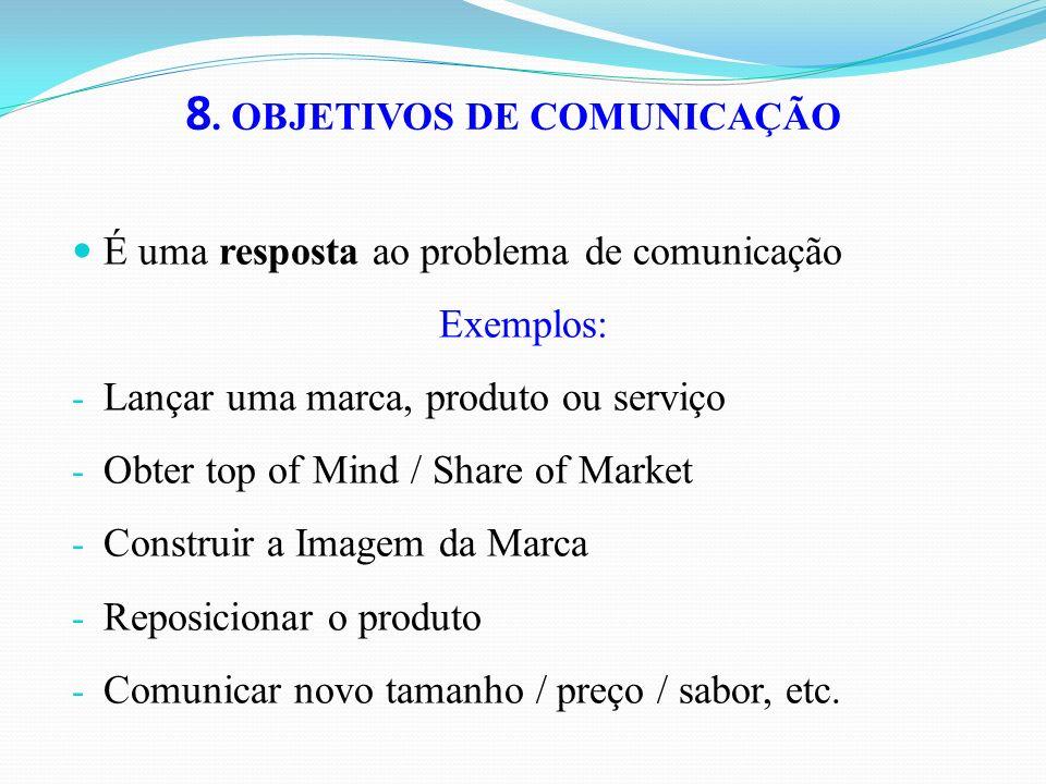 8. OBJETIVOS DE COMUNICAÇÃO É uma resposta ao problema de comunicação Exemplos: - Lançar uma marca, produto ou serviço - Obter top of Mind / Share of