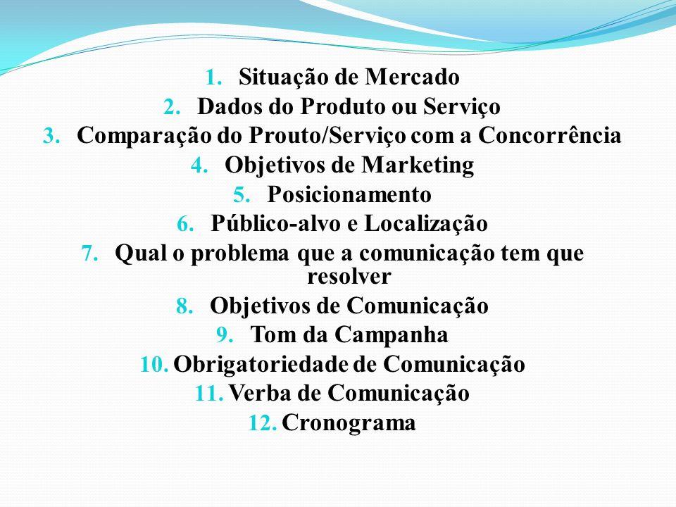 1. Situação de Mercado 2. Dados do Produto ou Serviço 3. Comparação do Prouto/Serviço com a Concorrência 4. Objetivos de Marketing 5. Posicionamento 6