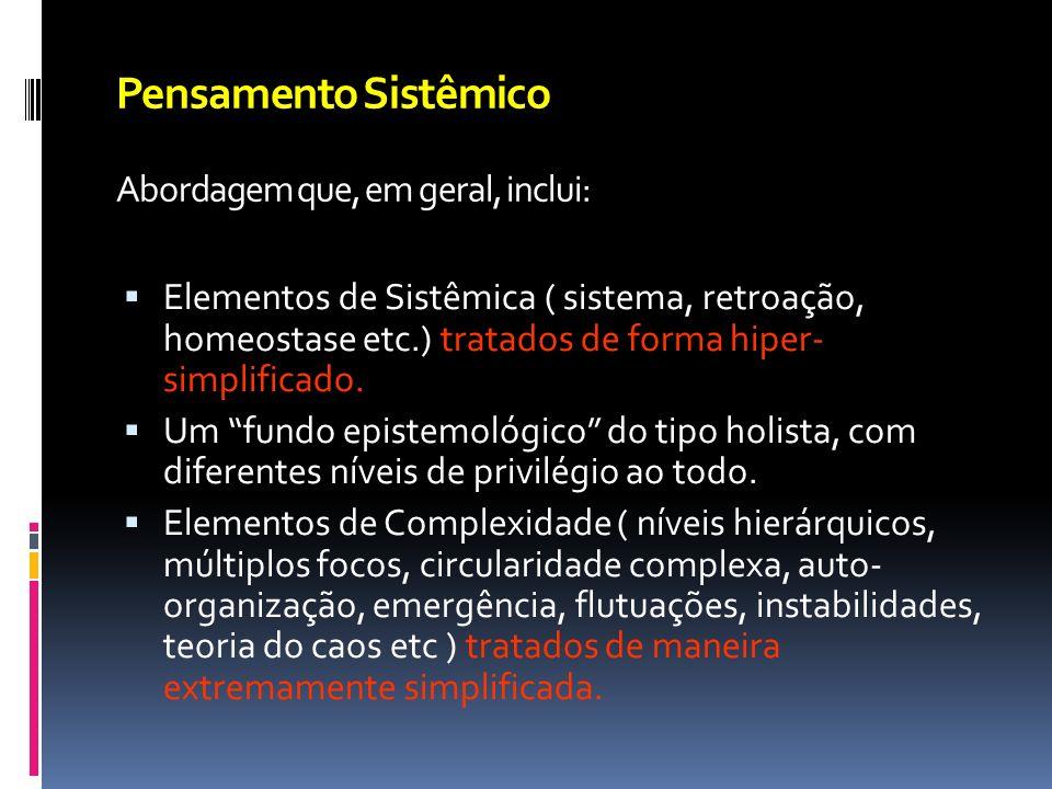 Pensamento Sistêmico Abordagem que, em geral, inclui: Elementos de Sistêmica ( sistema, retroação, homeostase etc.) tratados de forma hiper- simplific