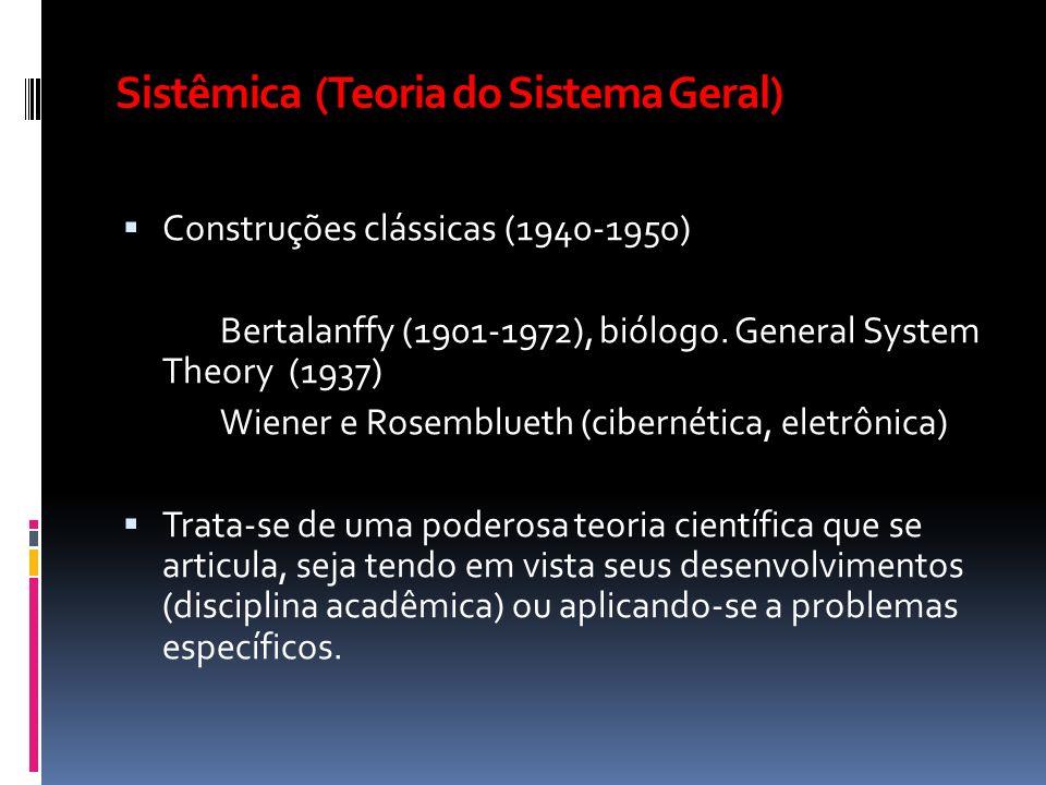 Sistêmica (Teoria do Sistema Geral) Construções clássicas (1940-1950) Bertalanffy (1901-1972), biólogo. General System Theory (1937) Wiener e Rosemblu