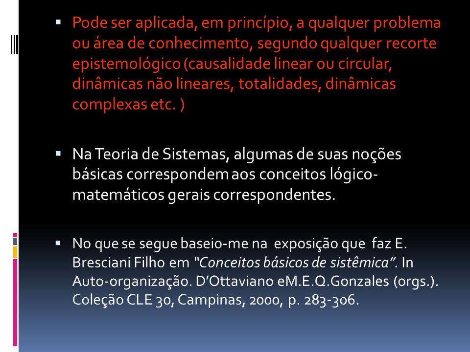 Pode ser aplicada, em princípio, a qualquer problema ou área de conhecimento, segundo qualquer recorte epistemológico (causalidade linear ou circular,