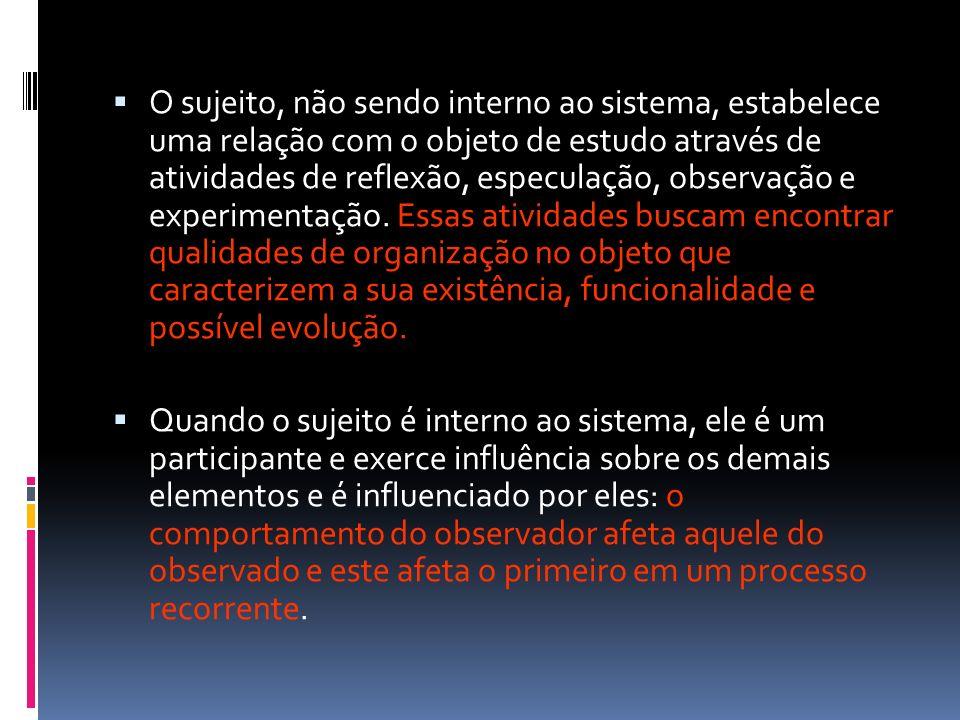 O sujeito, não sendo interno ao sistema, estabelece uma relação com o objeto de estudo através de atividades de reflexão, especulação, observação e ex