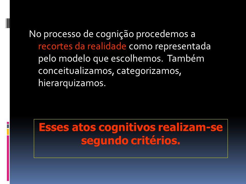 No processo de cognição procedemos a recortes da realidade como representada pelo modelo que escolhemos. Também conceitualizamos, categorizamos, hiera