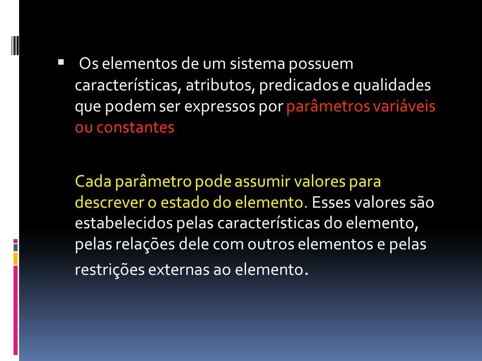 Os elementos de um sistema possuem características, atributos, predicados e qualidades que podem ser expressos por parâmetros variáveis ou constantes