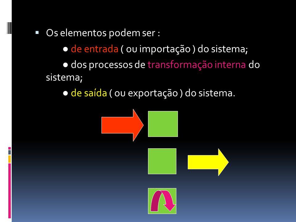 Os elementos podem ser : de entrada ( ou importação ) do sistema; dos processos de transformação interna do sistema; de saída ( ou exportação ) do sis