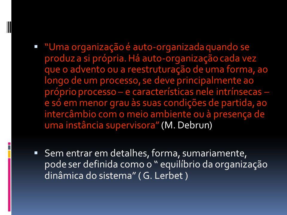 Uma organização é auto-organizada quando se produz a si própria. Há auto-organização cada vez que o advento ou a reestruturação de uma forma, ao longo