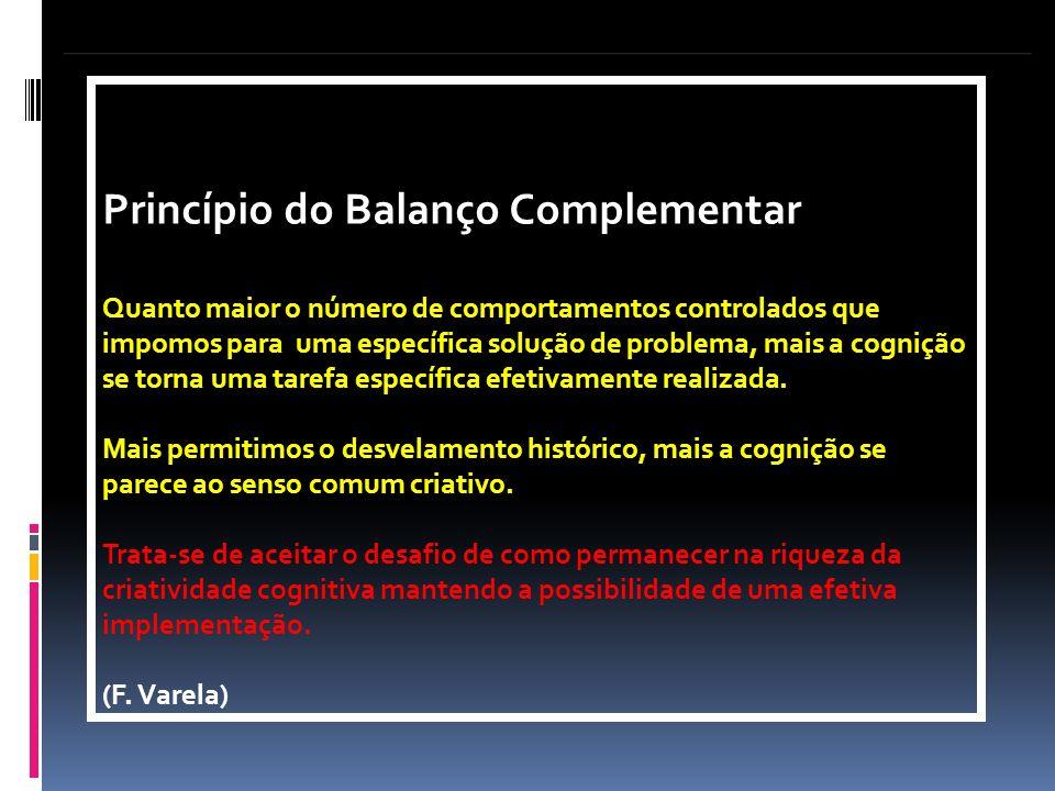 Princípio do Balanço Complementar Quanto maior o número de comportamentos controlados que impomos para uma específica solução de problema, mais a cogn