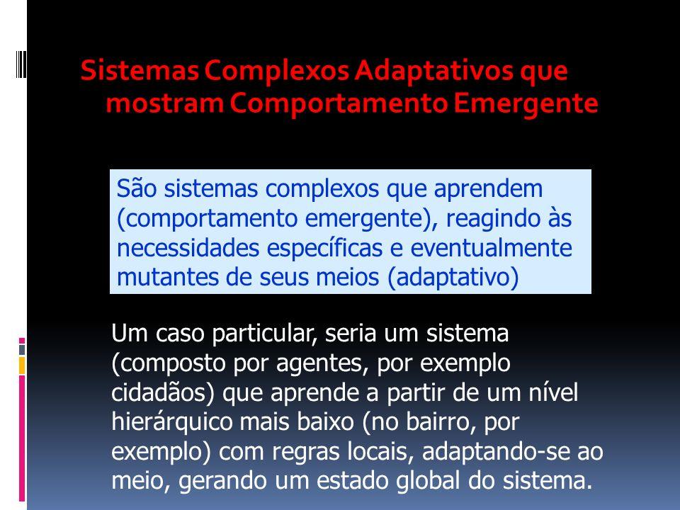Sistemas Complexos Adaptativos que mostram Comportamento Emergente São sistemas complexos que aprendem (comportamento emergente), reagindo às necessid