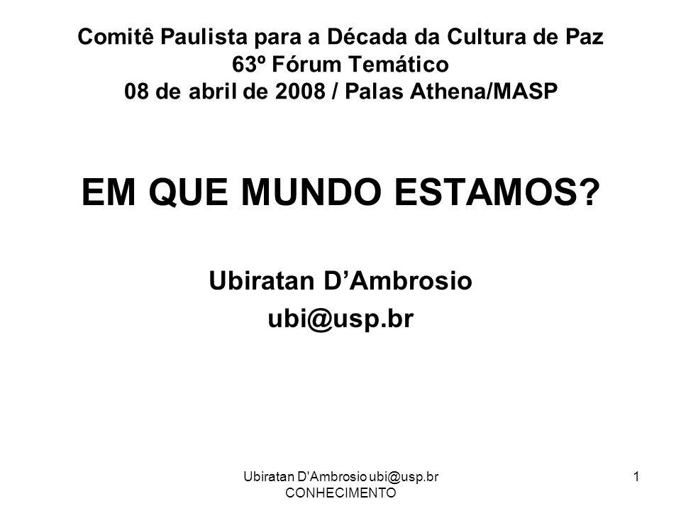 Ubiratan D'Ambrosio ubi@usp.br CONHECIMENTO 1 Comitê Paulista para a Década da Cultura de Paz 63º Fórum Temático 08 de abril de 2008 / Palas Athena/MA