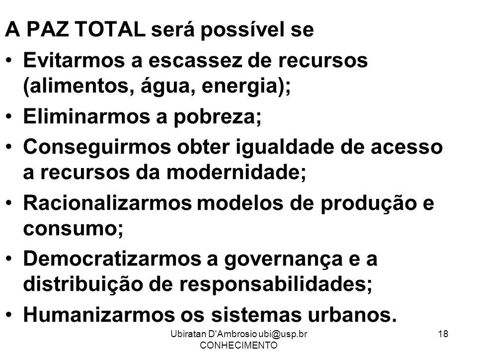 Ubiratan D'Ambrosio ubi@usp.br CONHECIMENTO 18 A PAZ TOTAL será possível se Evitarmos a escassez de recursos (alimentos, água, energia); Eliminarmos a