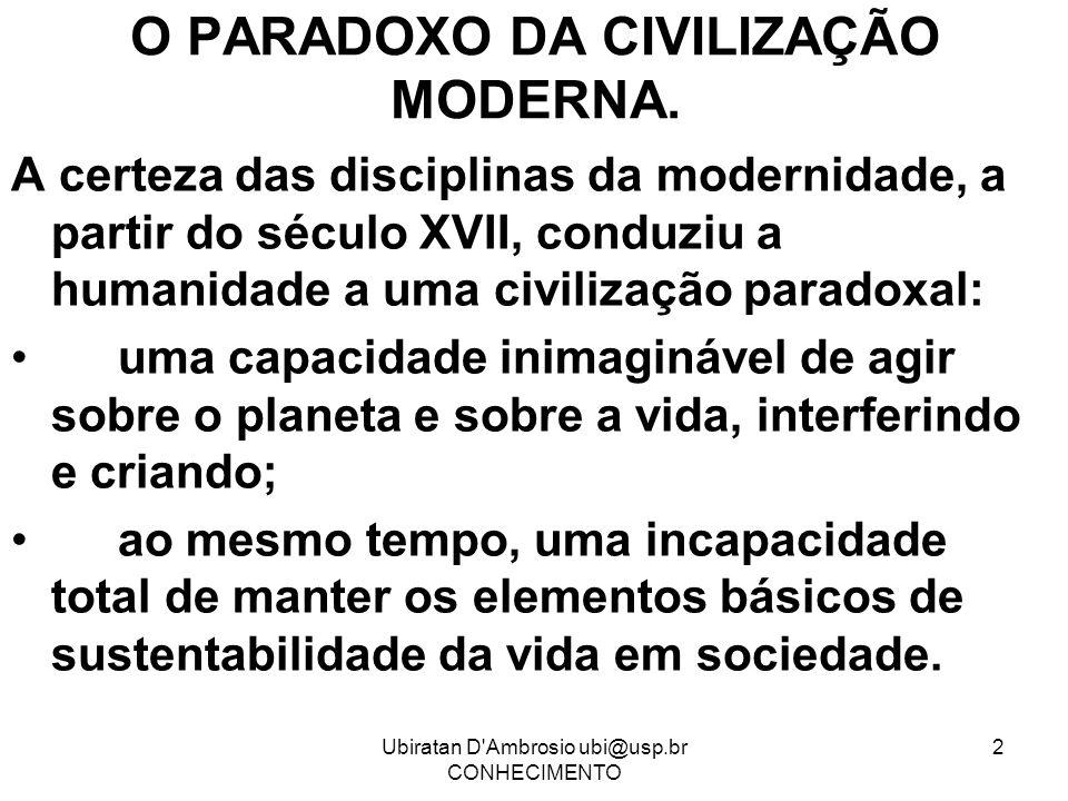 Ubiratan D'Ambrosio ubi@usp.br CONHECIMENTO 2 O PARADOXO DA CIVILIZAÇÃO MODERNA. A certeza das disciplinas da modernidade, a partir do século XVII, co