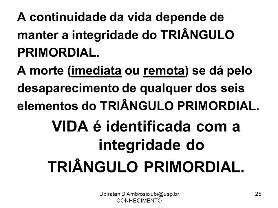 Ubiratan D'Ambrosio ubi@usp.br CONHECIMENTO 25 A continuidade da vida depende de manter a integridade do TRIÂNGULO PRIMORDIAL. A morte (imediata ou re