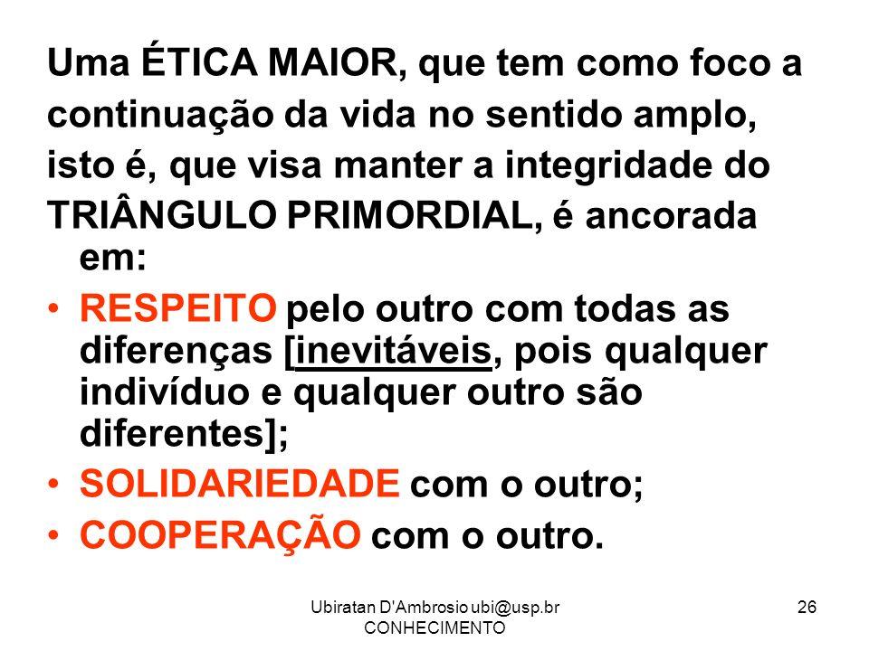 Ubiratan D'Ambrosio ubi@usp.br CONHECIMENTO 26 Uma ÉTICA MAIOR, que tem como foco a continuação da vida no sentido amplo, isto é, que visa manter a in