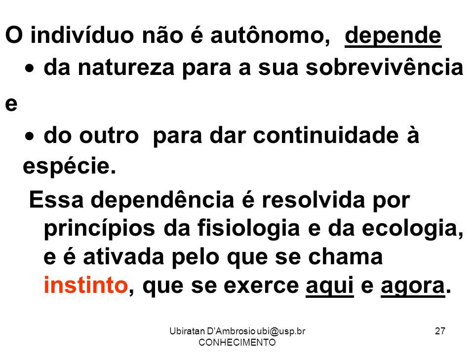 Ubiratan D'Ambrosio ubi@usp.br CONHECIMENTO 27 O indivíduo não é autônomo, depende da natureza para a sua sobrevivência e do outro para dar continuida