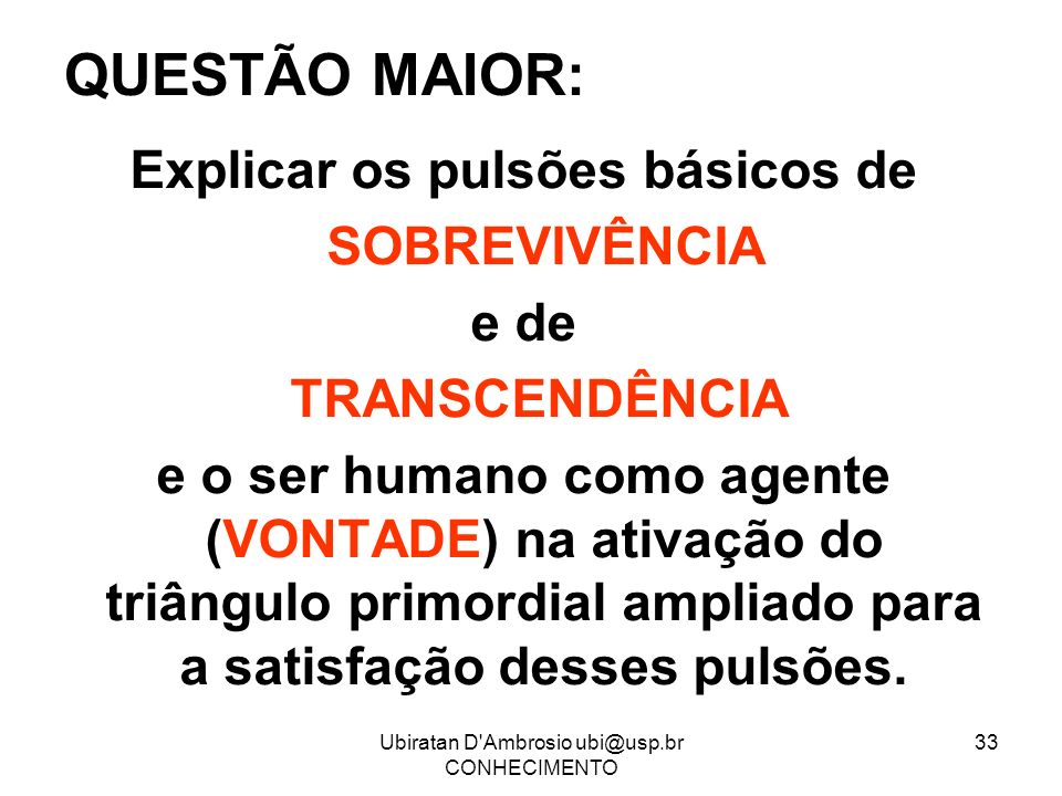 Ubiratan D'Ambrosio ubi@usp.br CONHECIMENTO 33 QUESTÃO MAIOR: Explicar os pulsões básicos de SOBREVIVÊNCIA e de TRANSCENDÊNCIA e o ser humano como age