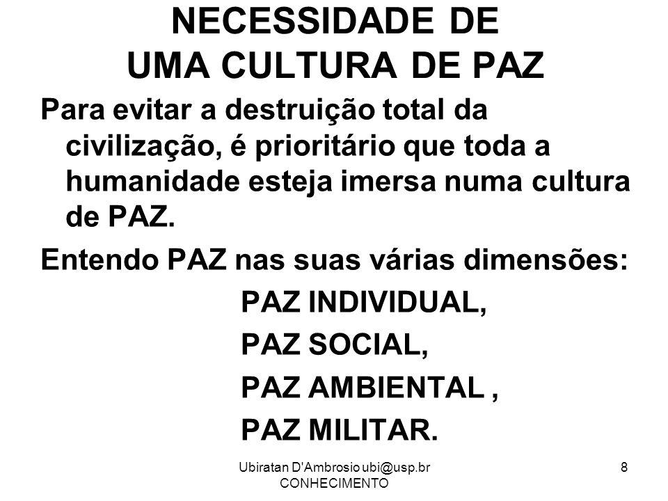 Ubiratan D'Ambrosio ubi@usp.br CONHECIMENTO 8 NECESSIDADE DE UMA CULTURA DE PAZ Para evitar a destruição total da civilização, é prioritário que toda