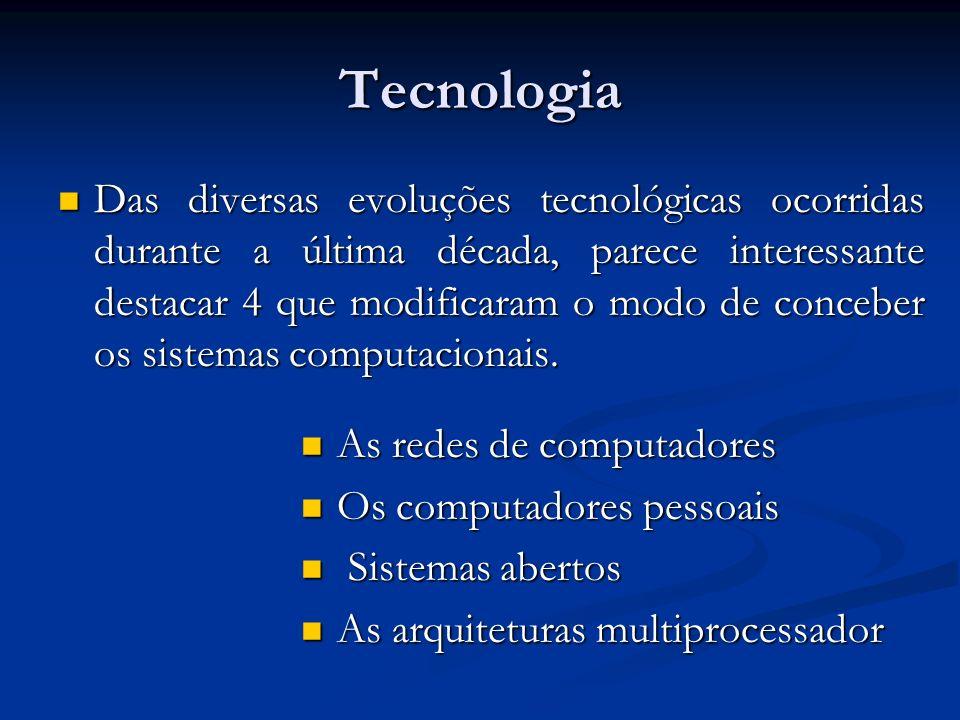 Tecnologia Das diversas evoluções tecnológicas ocorridas durante a última década, parece interessante destacar 4 que modificaram o modo de conceber os