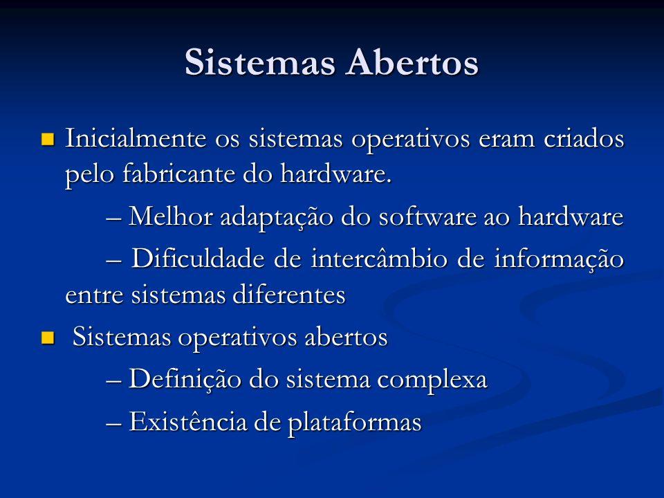 Sistemas Abertos Inicialmente os sistemas operativos eram criados pelo fabricante do hardware. Inicialmente os sistemas operativos eram criados pelo f