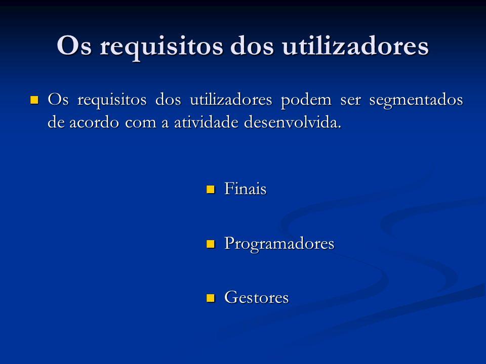 Os requisitos dos utilizadores Os requisitos dos utilizadores podem ser segmentados de acordo com a atividade desenvolvida. Os requisitos dos utilizad