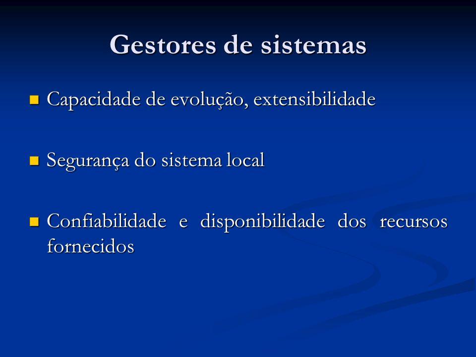 Gestores de sistemas Capacidade de evolução, extensibilidade Capacidade de evolução, extensibilidade Segurança do sistema local Segurança do sistema l